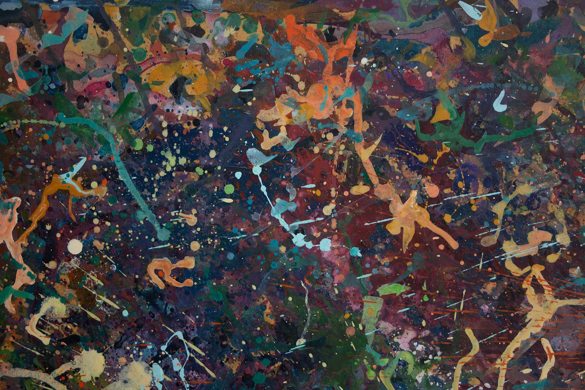 Abstract expressionism painting - Alien teddy bear dance party - Detail 1