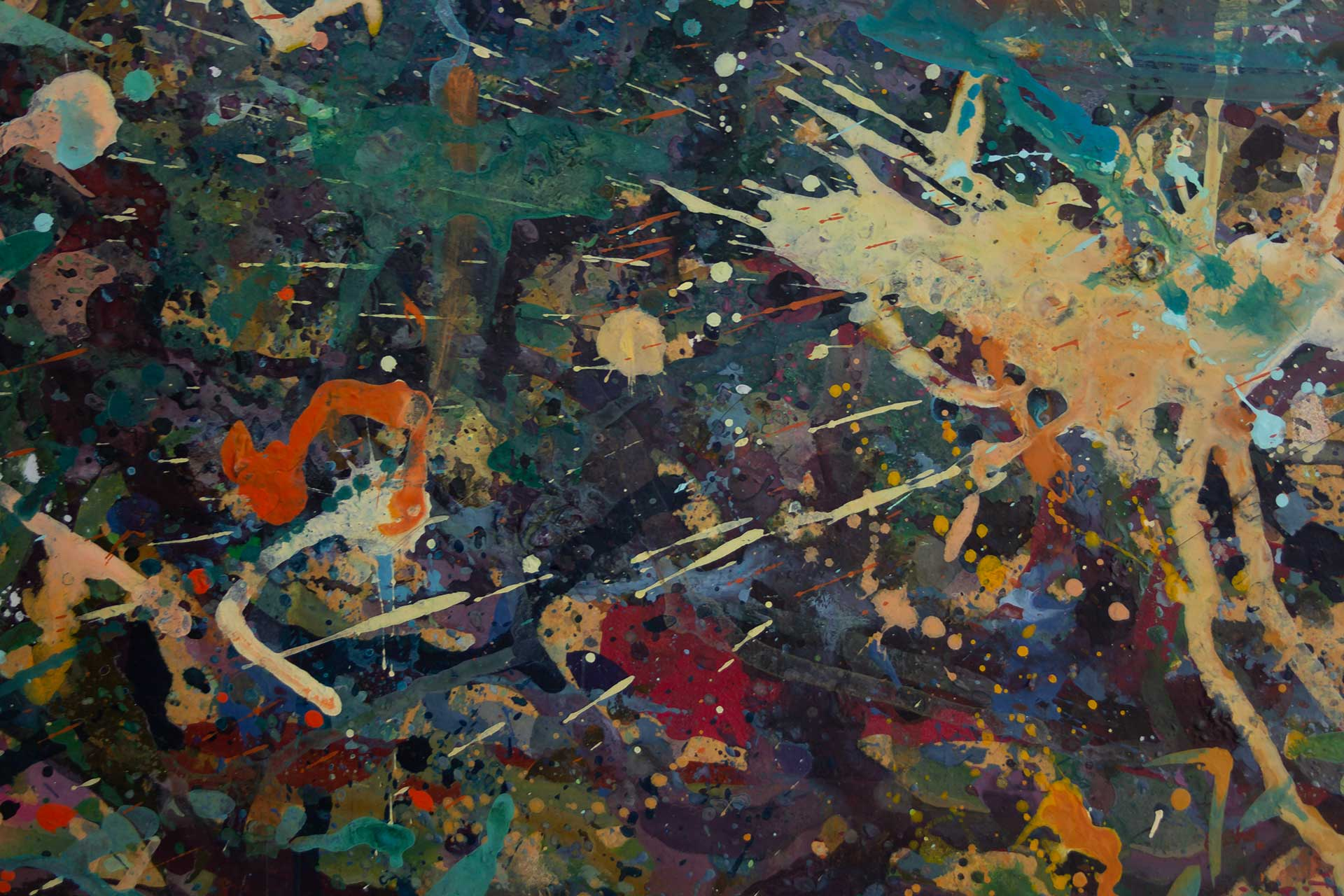 Abstract expressionism painting - Alien teddy bear dance party - Detail 2