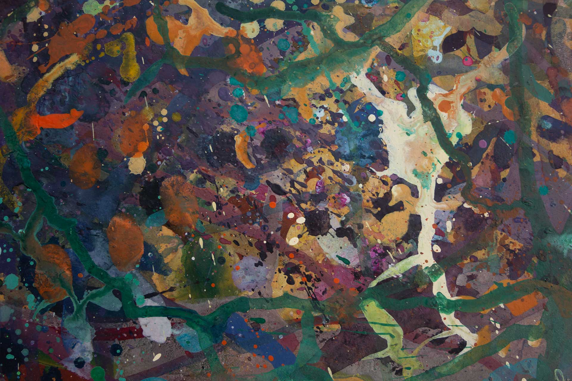 Abstract expressionism painting - Alien teddy bear dance party - Detail 3