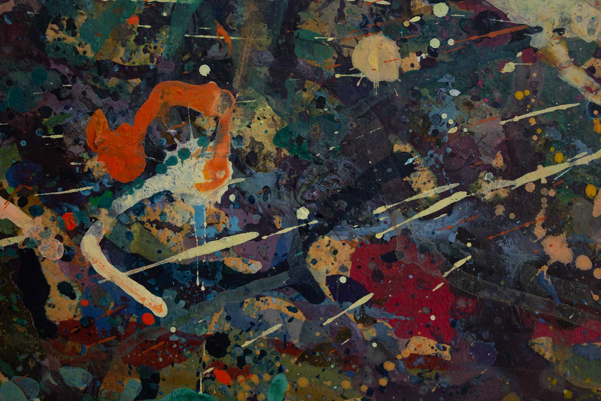 Abstract expressionism painting - Alien teddy bear dance party - Detail 4