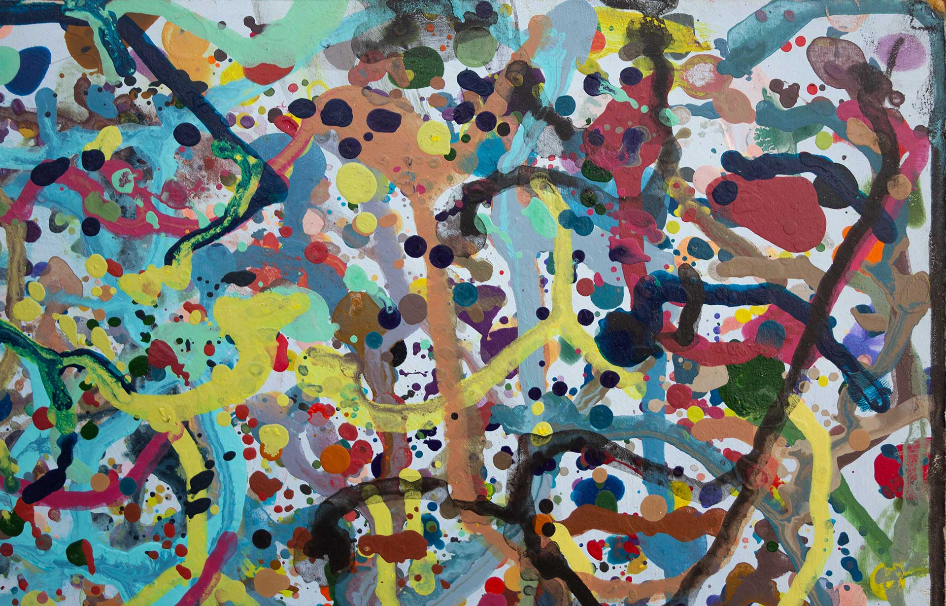 Abstract expressionism painting - Celebrities at a Party in Palm Beach - Detail 1