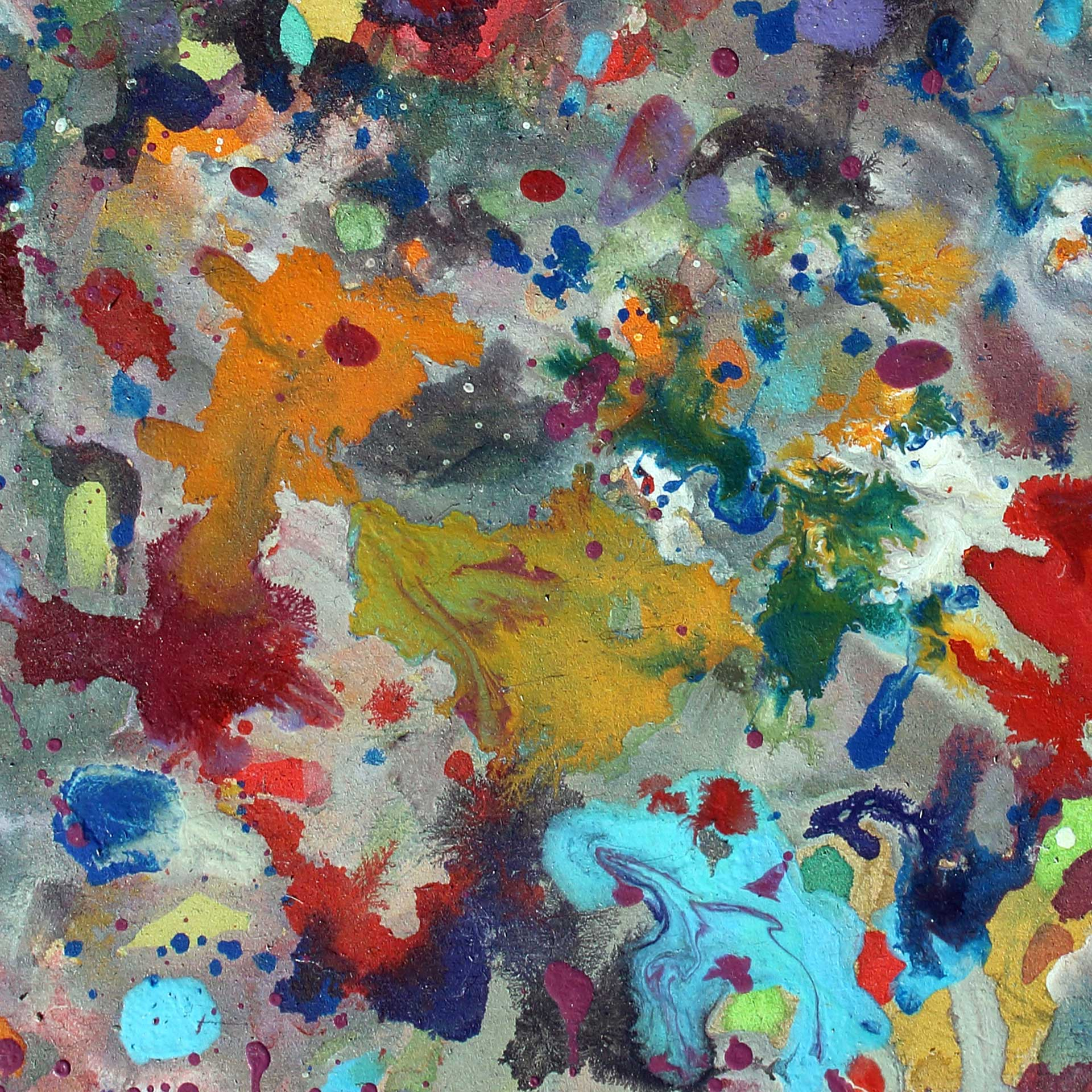 Abstract expressionism painting - Crowd of spectators at a football match - Detail 1