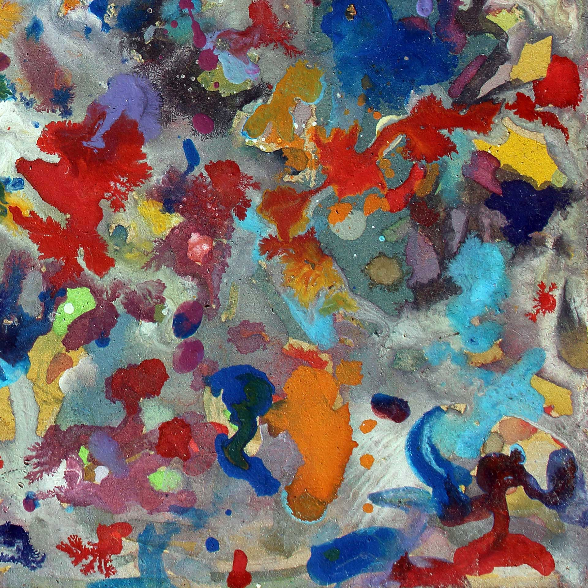 Abstract expressionism painting - Crowd of spectators at a football match - Detail 2