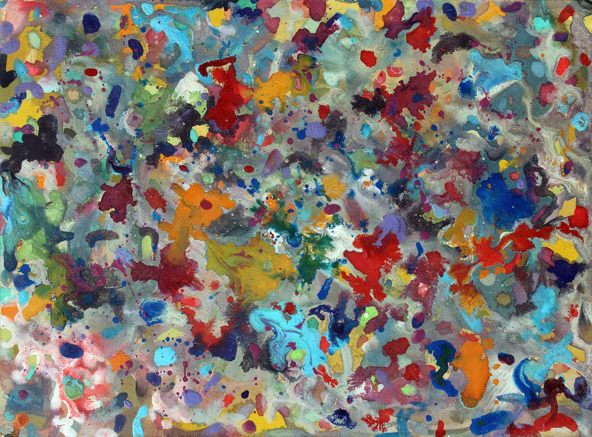 Abstract expressionism painting - Crowd of spectators at a football match