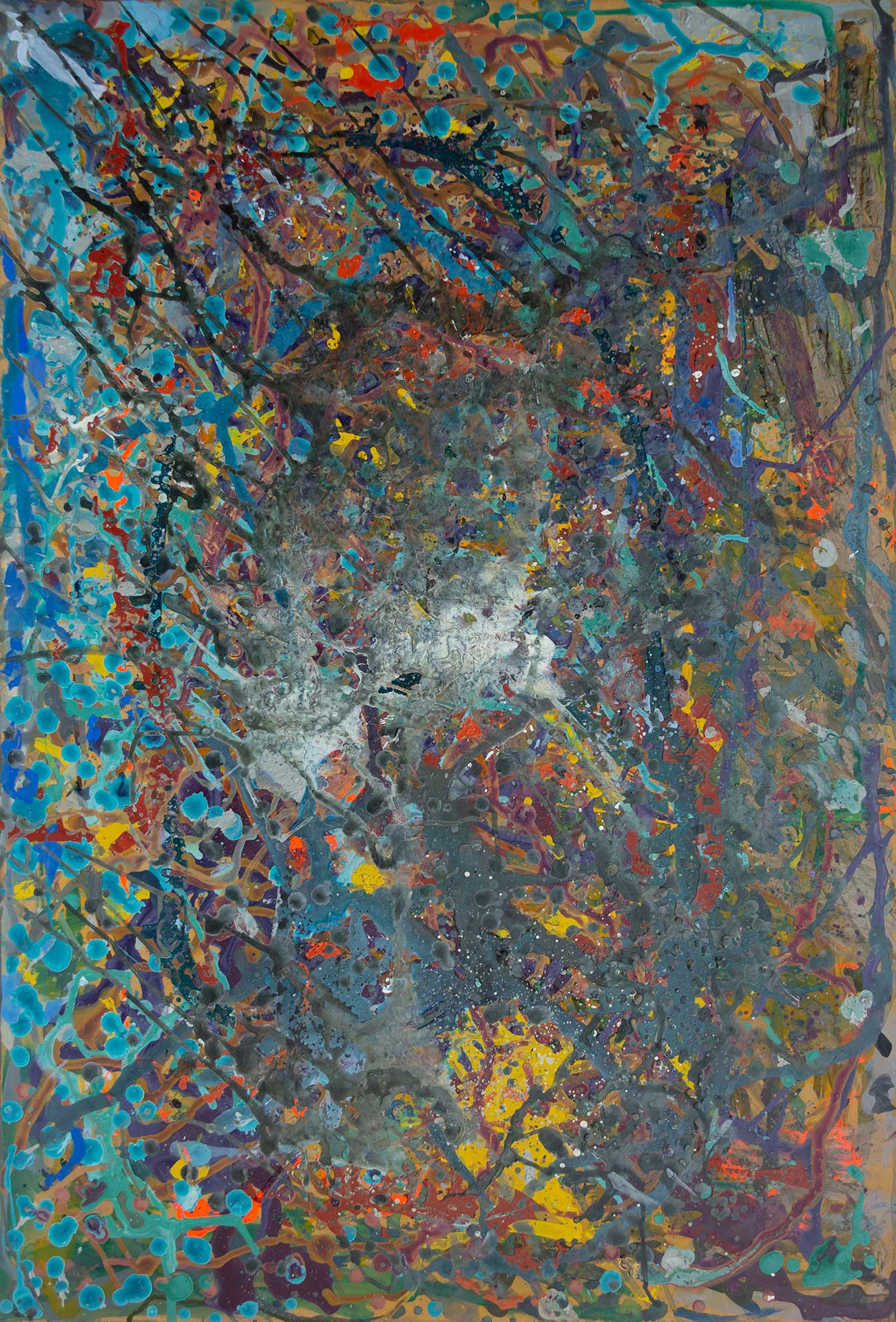 Abstract expressionism painting - Fight of the aliens #1