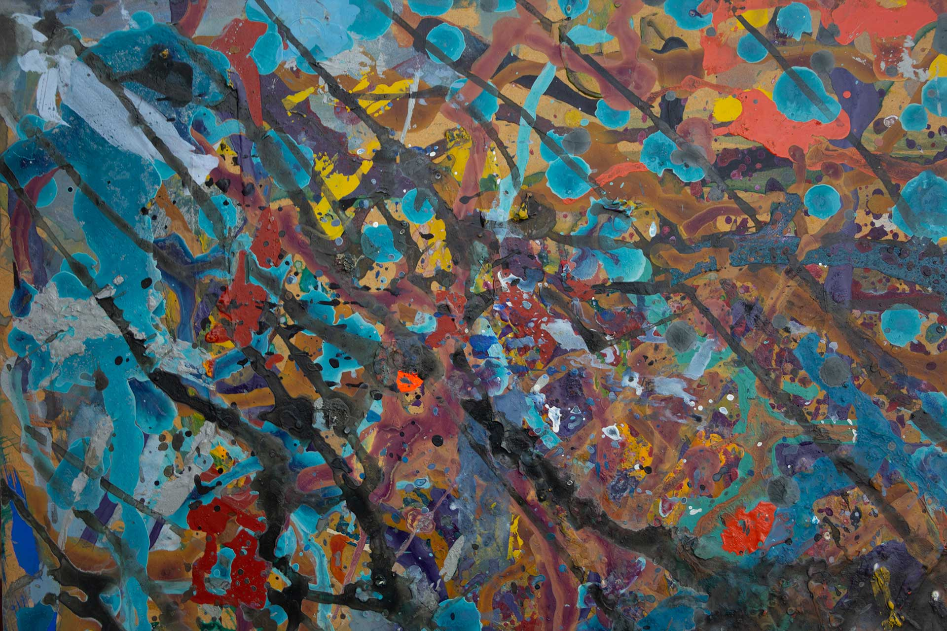 Abstract expressionism painting - Fight of the aliens #1 - Detail 1