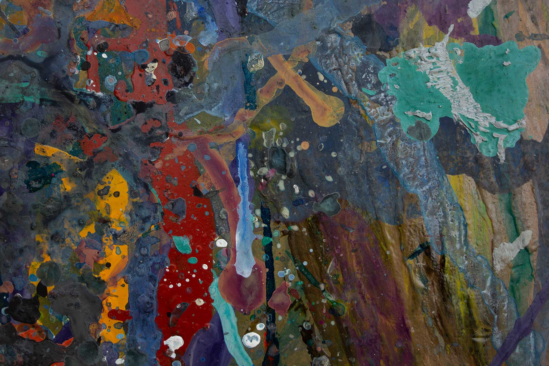 Abstract expressionism painting - Fight of the aliens #1 - Detail 2