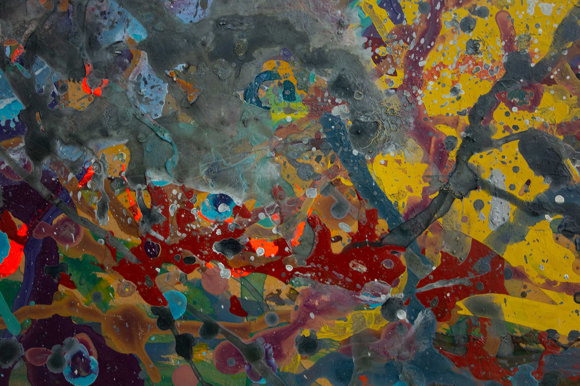 Abstract expressionism painting - Fight of the aliens #1 - Detail 3