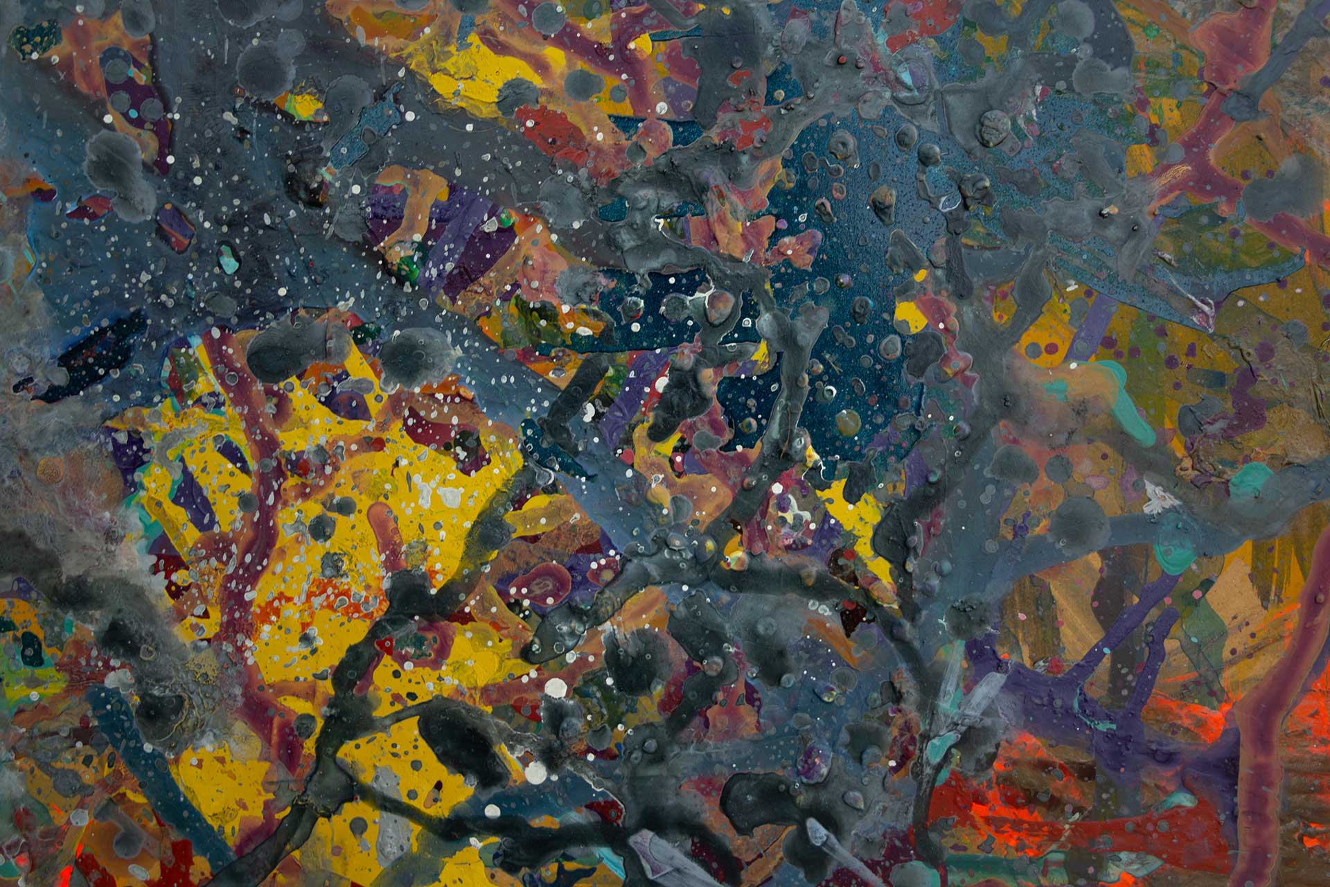 Abstract expressionism painting - Fight of the aliens #1 - Detail 4
