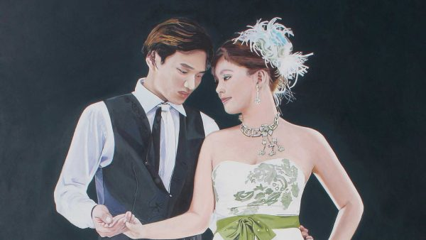 Photorealist painting - Newly made husband being told off - Detail 1