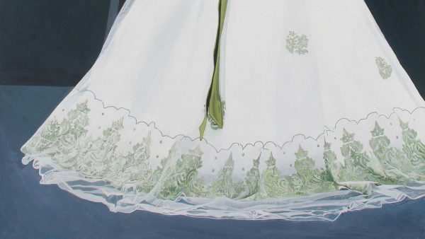 Photorealist painting - Newly made husband being told off - Detail 2