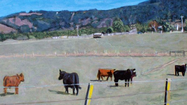 Photorealist painting - Cows in a paddock at Yarra Glen - Detail 1