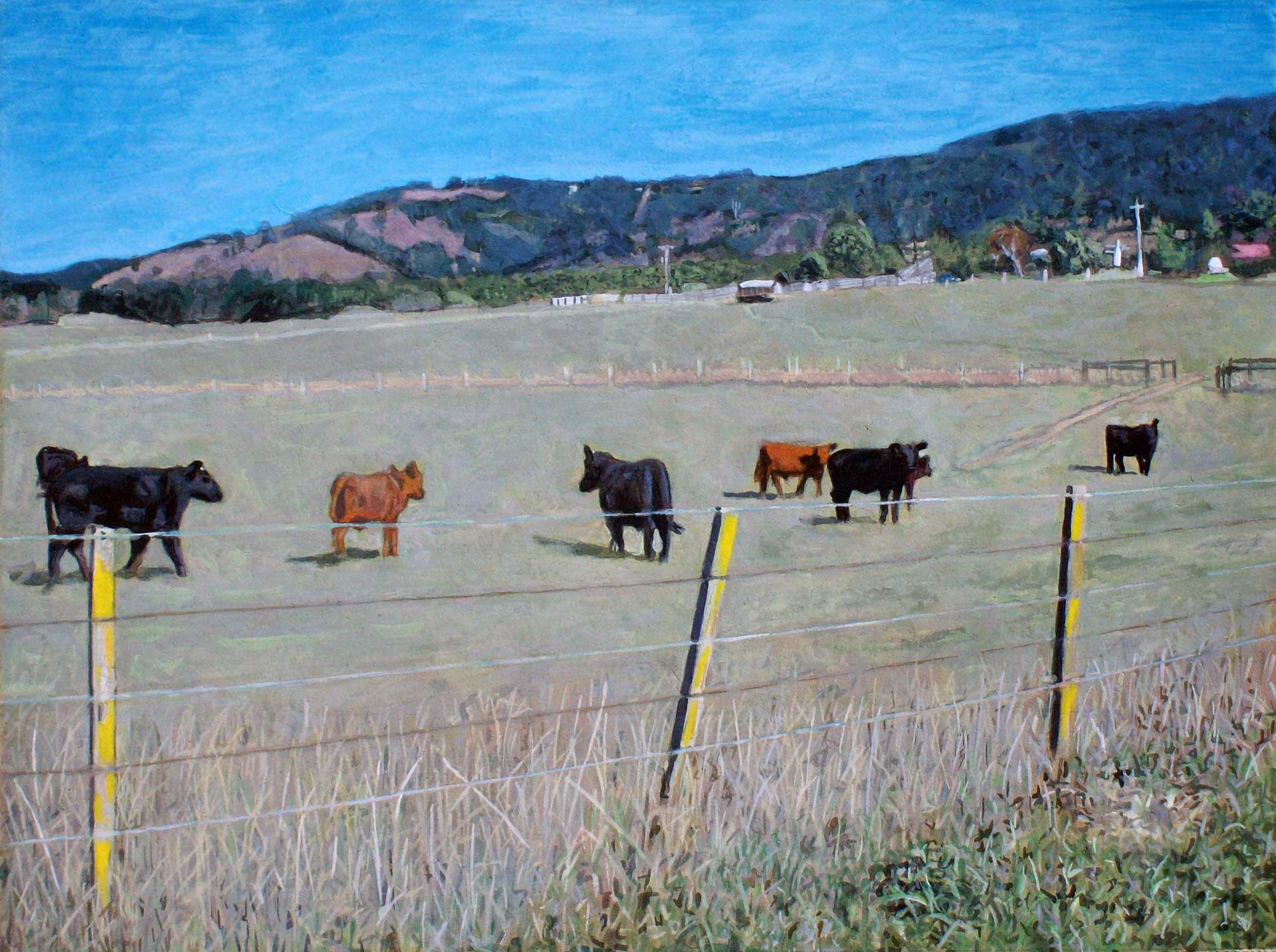 Photorealist painting - Cows in a Paddock at Yarra Glen