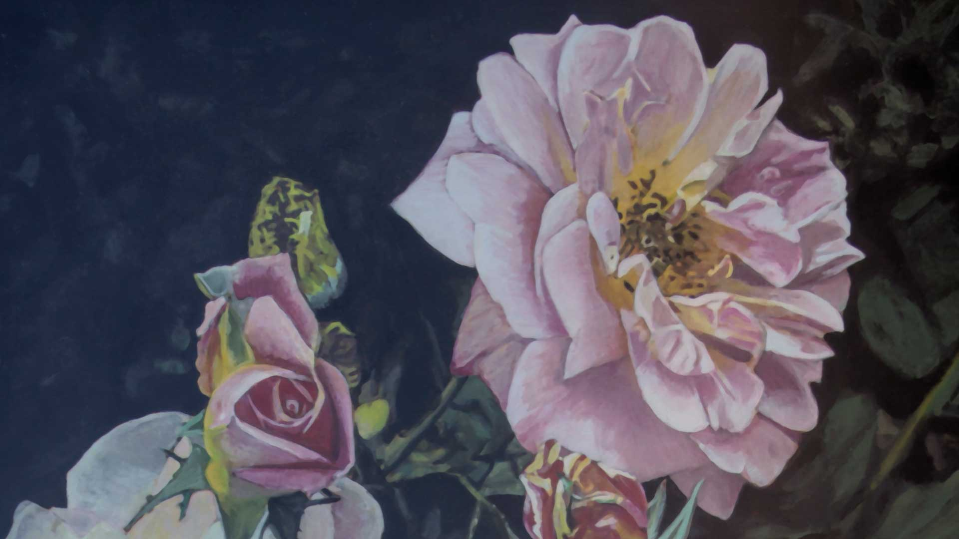 Photorealist painting - Flowers - Detail 1