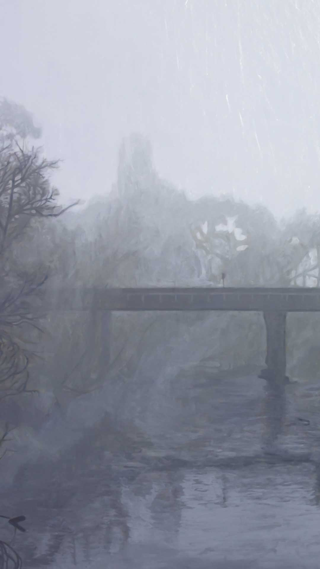Photorealist painting - Fog at Yarra Glen - Detail 1