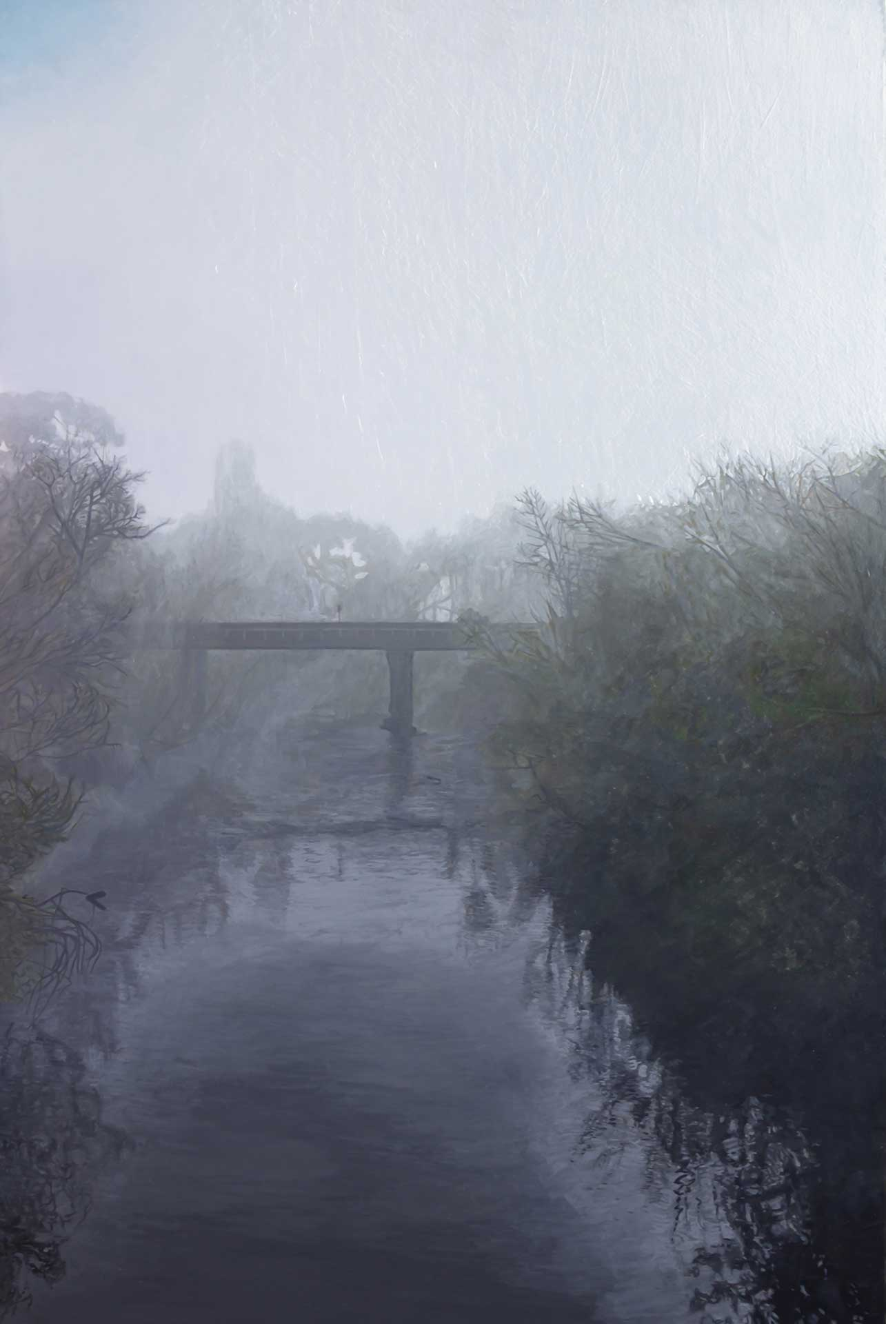 Photorealist painting - Fog at Yarra Glen