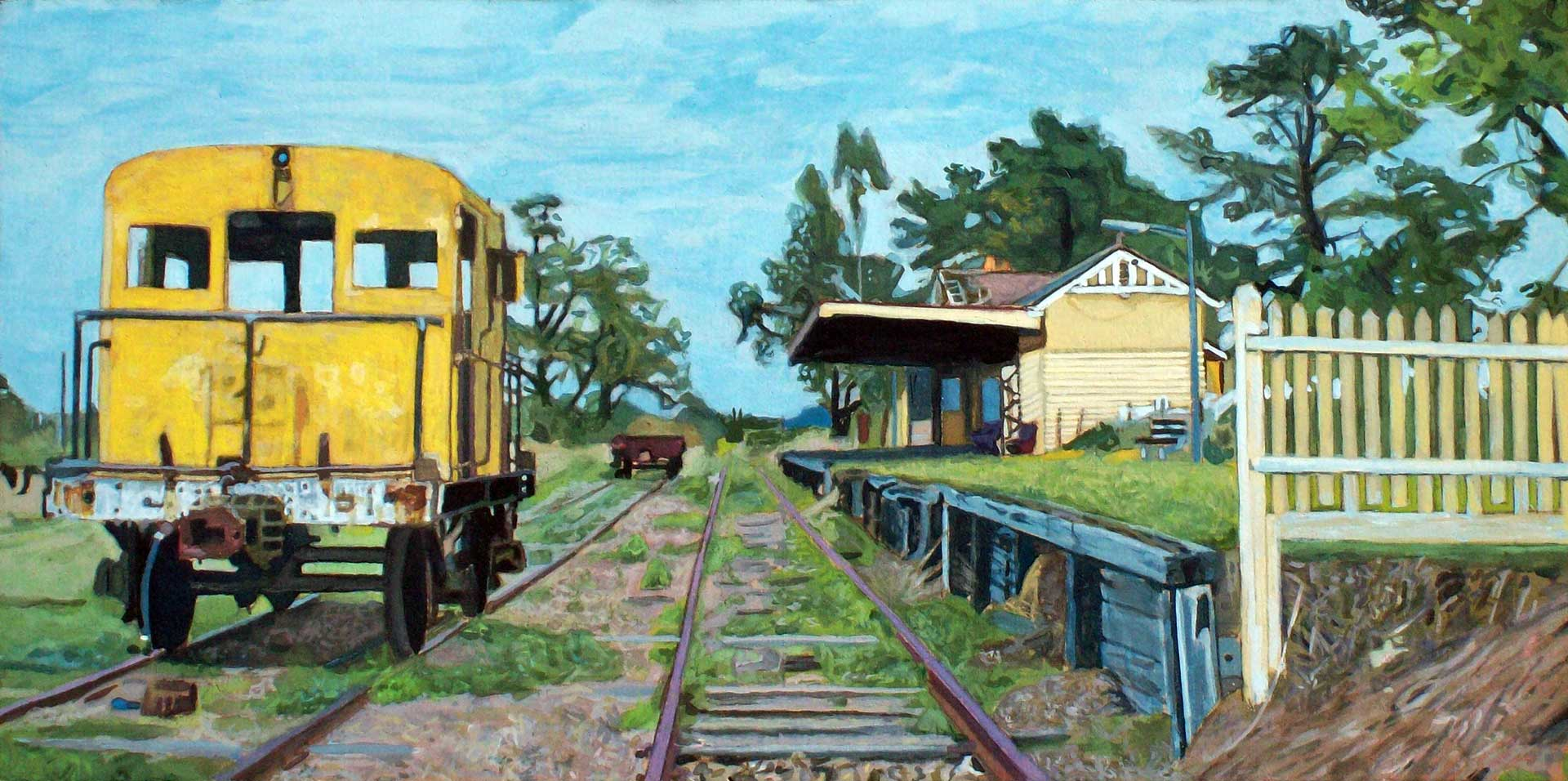 Photorealist painting - Old Yarra Glen Railway Station
