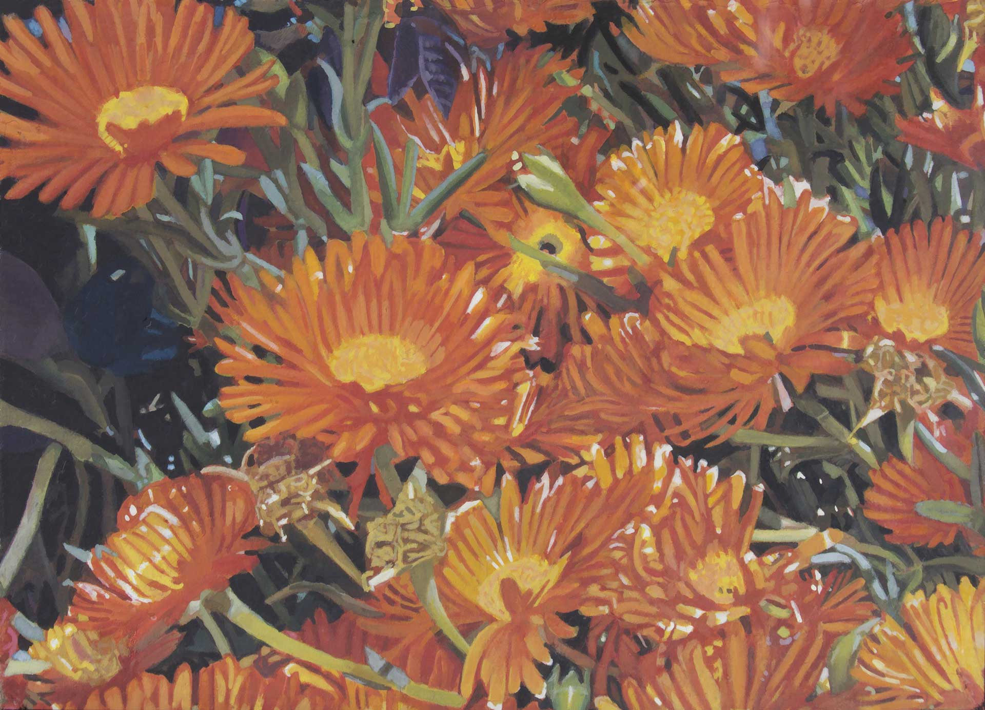 Photorealist painting - Orange Flowers
