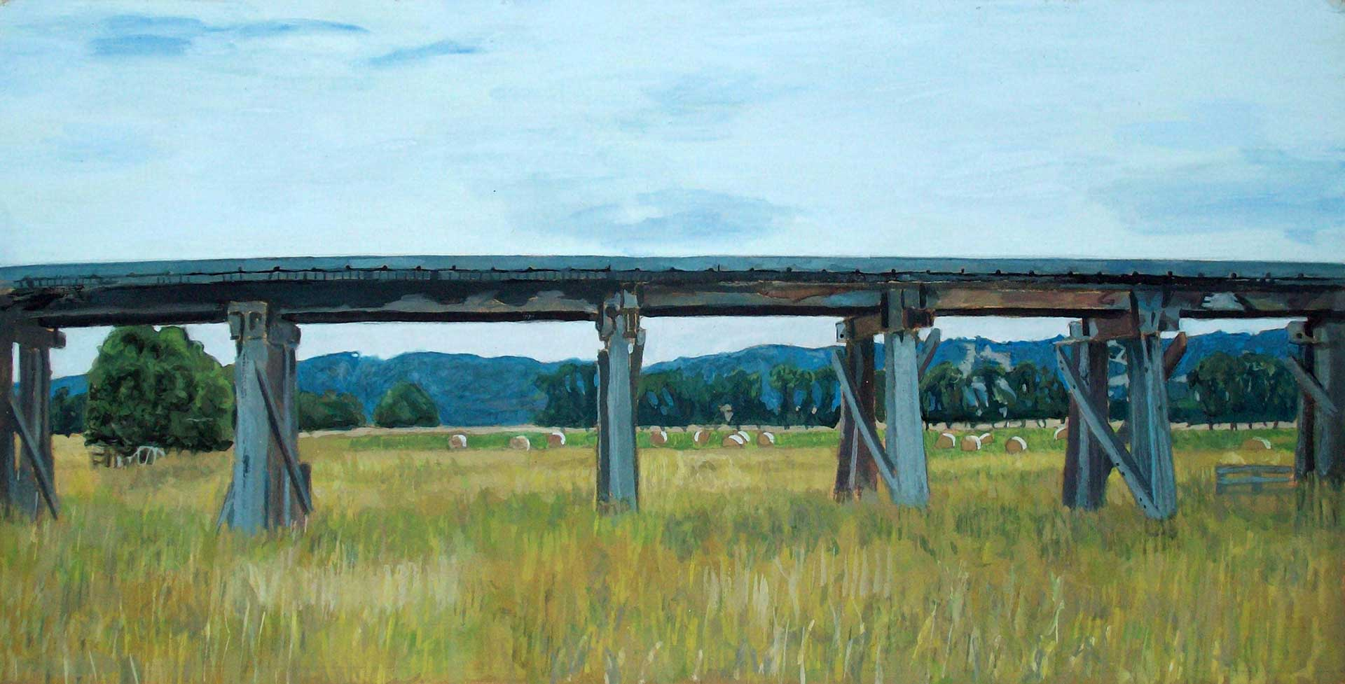 Photorealist painting - Railway Trestle Bridge Near Yarra Glen