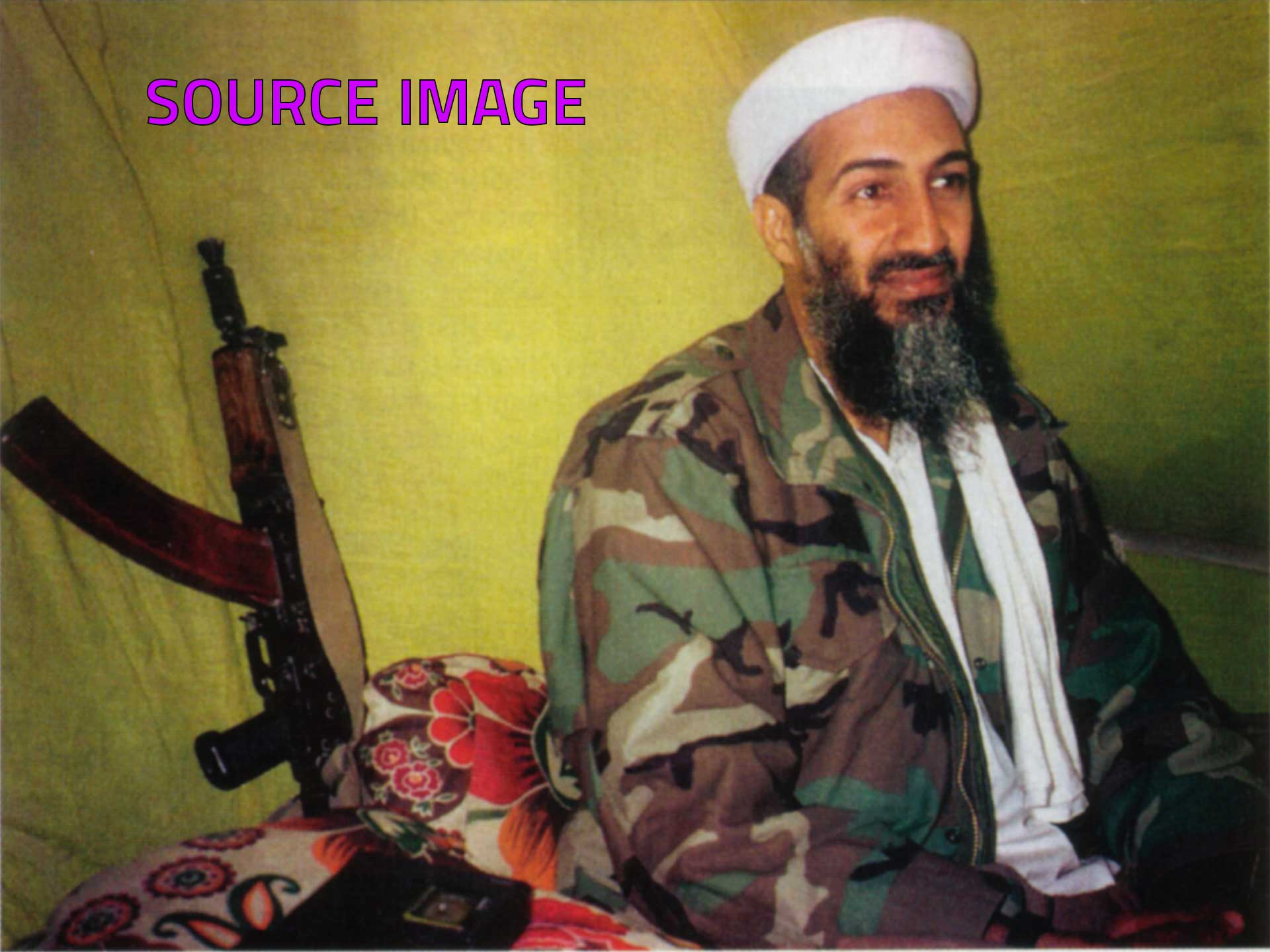 Photorealist painting - Osama - The Biggest Arsehole On The Planet - Source image
