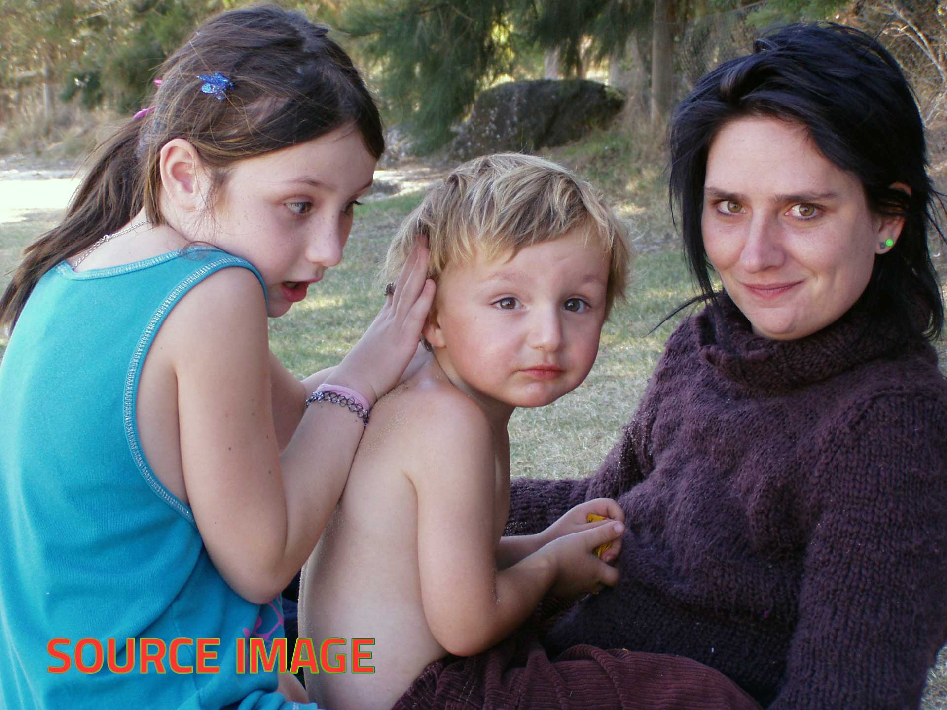 Photorealist painting - Rebecca and Her Children - Source image