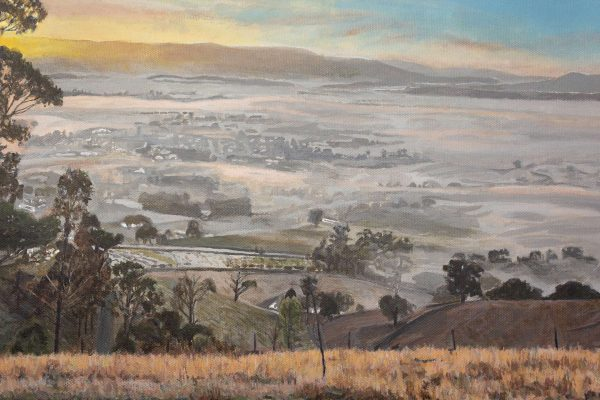 Photorealism painting - Sunrise over the Yarra Valley - 1 - Detail 2