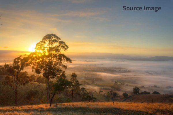 Photorealism painting - Sunrise over the Yarra Valley - 1 - Source image
